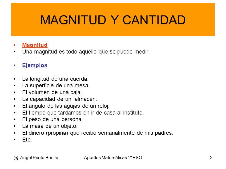 @ Angel Prieto BenitoApuntes Matemáticas 1º ESO3 Cantidad Una cantidad de una magnitud es un ejemplo concreto de esa magnitud.