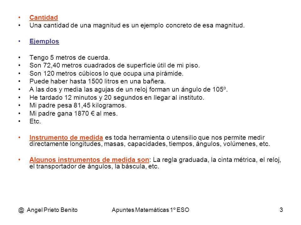 @ Angel Prieto BenitoApuntes Matemáticas 1º ESO14 Problemas 1.-Tengo 9 monedas de 10 cts, 7 de 20 cts y 5 de 50 cts.¿Cuánto dinero tengo?.