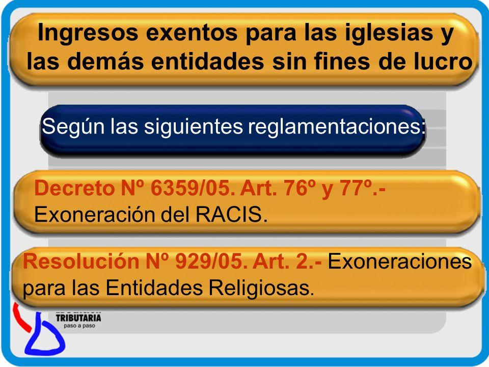 Resolución Nº 1346/05.Art. 20º.- Alcance de la exoneración del IRACIS.