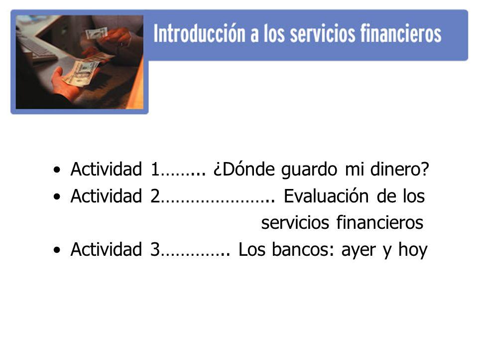 Actividad 1……... ¿Dónde guardo mi dinero? Actividad 2………………….. Evaluación de los servicios financieros Actividad 3………….. Los bancos: ayer y hoy