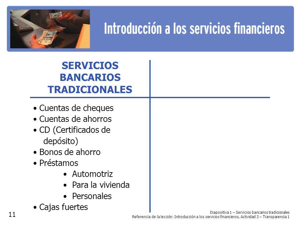 SERVICIOS BANCARIOS TRADICIONALES Cuentas de cheques Cuentas de ahorros CD (Certificados de depósito) Bonos de ahorro Préstamos Automotriz Para la viv