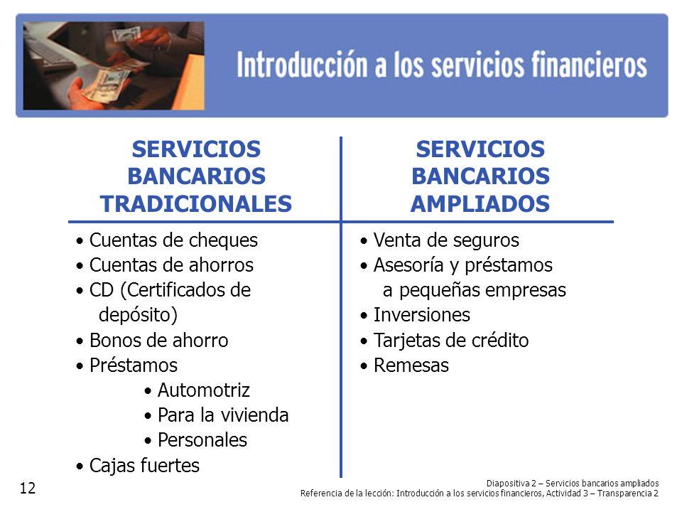 SERVICIOS BANCARIOS AMPLIADOS Venta de seguros Asesoría y préstamos a pequeñas empresas Inversiones Tarjetas de crédito Remesas Diapositiva 2 – Servic