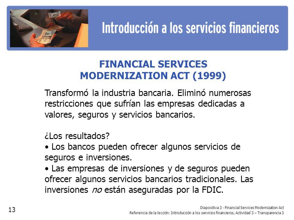FINANCIAL SERVICES MODERNIZATION ACT (1999) Transformó la industria bancaria. Eliminó numerosas restricciones que sufrían las empresas dedicadas a val