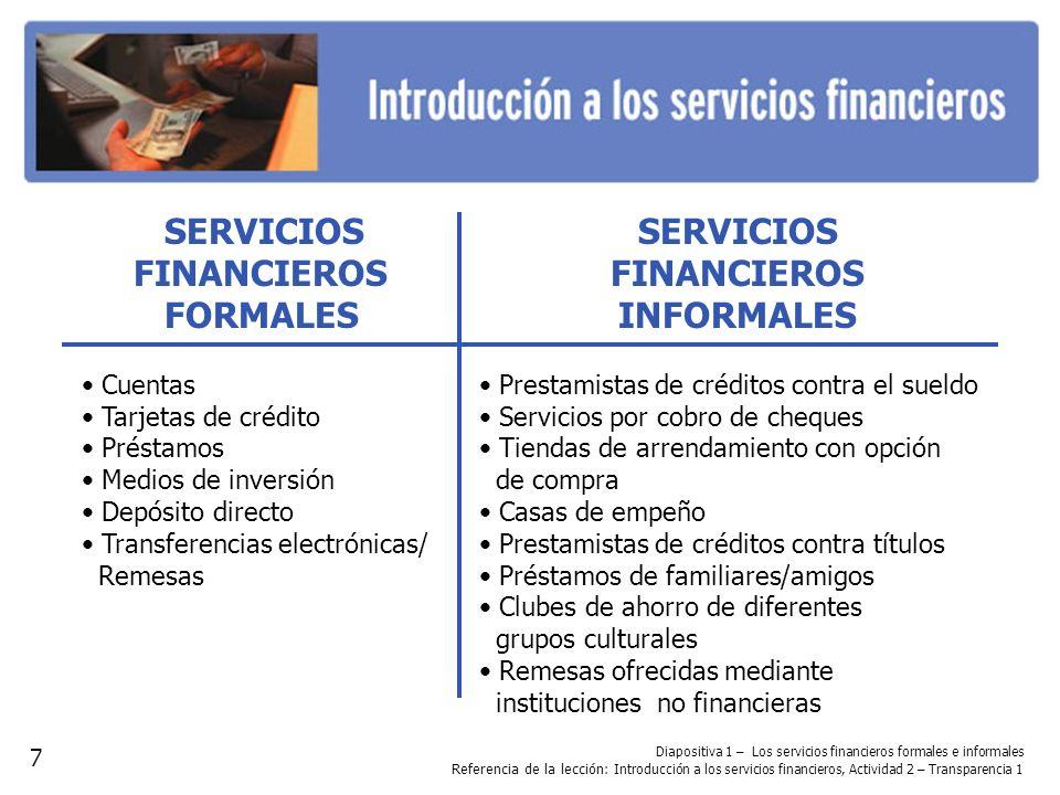 Diapositiva 1 – Los servicios financieros formales e informales Referencia de la lección : Introducción a los servicios financieros, Actividad 2 – Tra