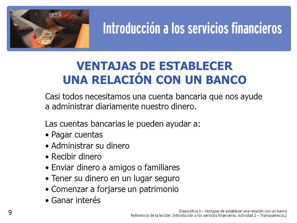 Diapositiva 3 – Ventajas de establecer una relación con un banco Referencia de la lección: Introducción a los servicios financieros, Actividad 2 – Tra
