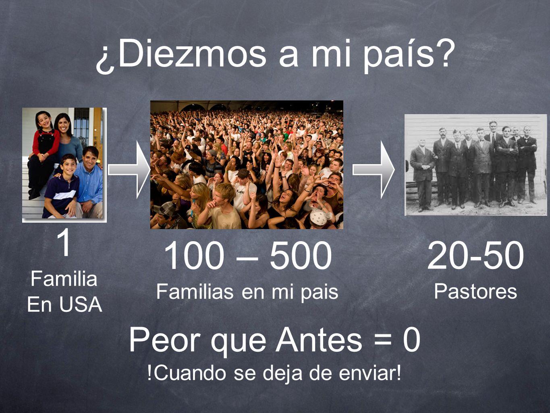 ¿Diezmos a mi país? 1 Familia En USA 100 – 500 Familias en mi pais 20-50 Pastores Peor que Antes = 0 !Cuando se deja de enviar!