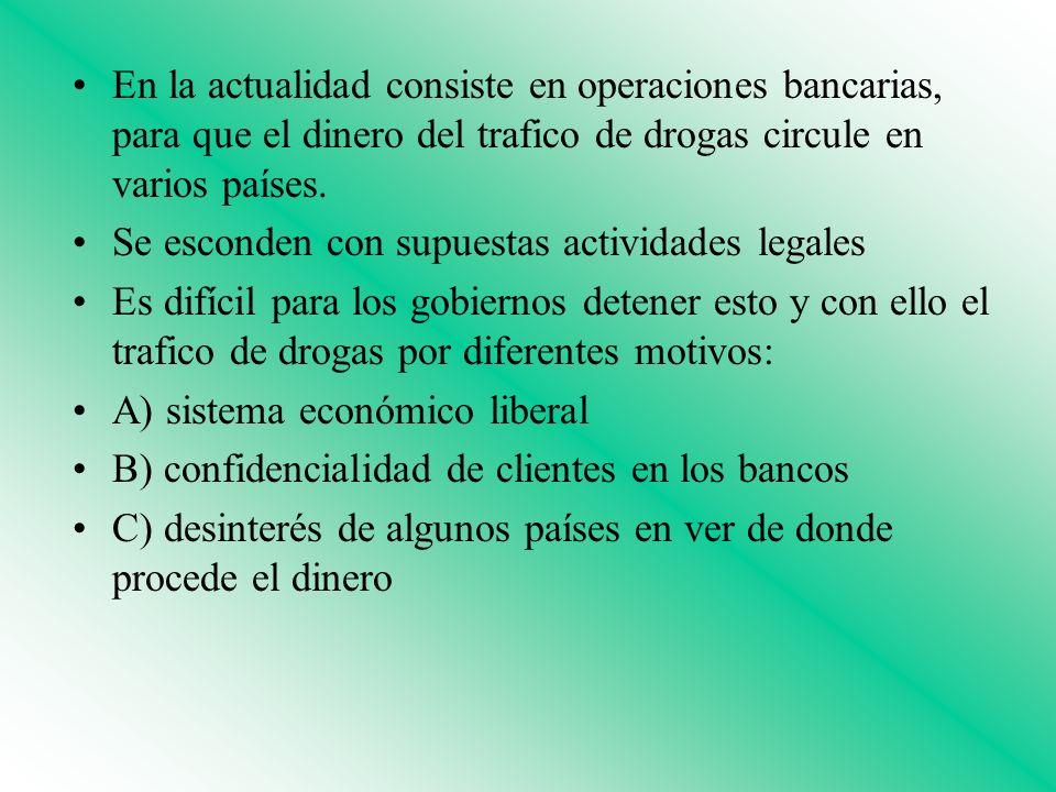 En la actualidad consiste en operaciones bancarias, para que el dinero del trafico de drogas circule en varios países. Se esconden con supuestas activ