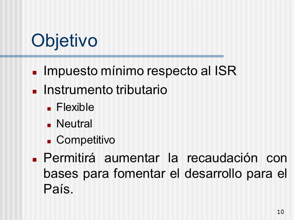 10 Objetivo Impuesto mínimo respecto al ISR Instrumento tributario Flexible Neutral Competitivo Permitirá aumentar la recaudación con bases para fomen