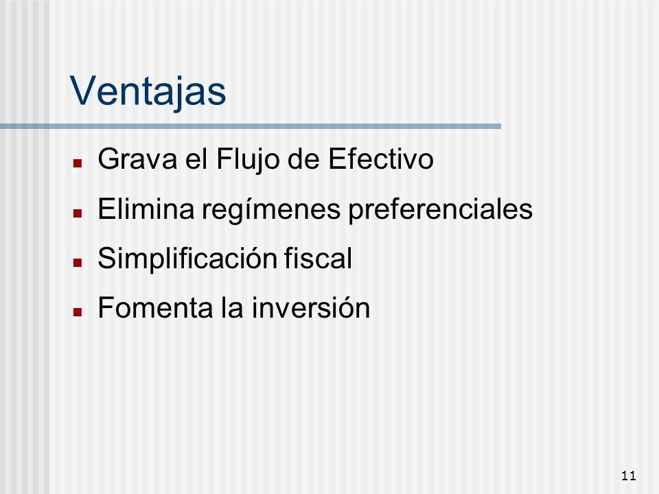 11 Ventajas Grava el Flujo de Efectivo Elimina regímenes preferenciales Simplificación fiscal Fomenta la inversión