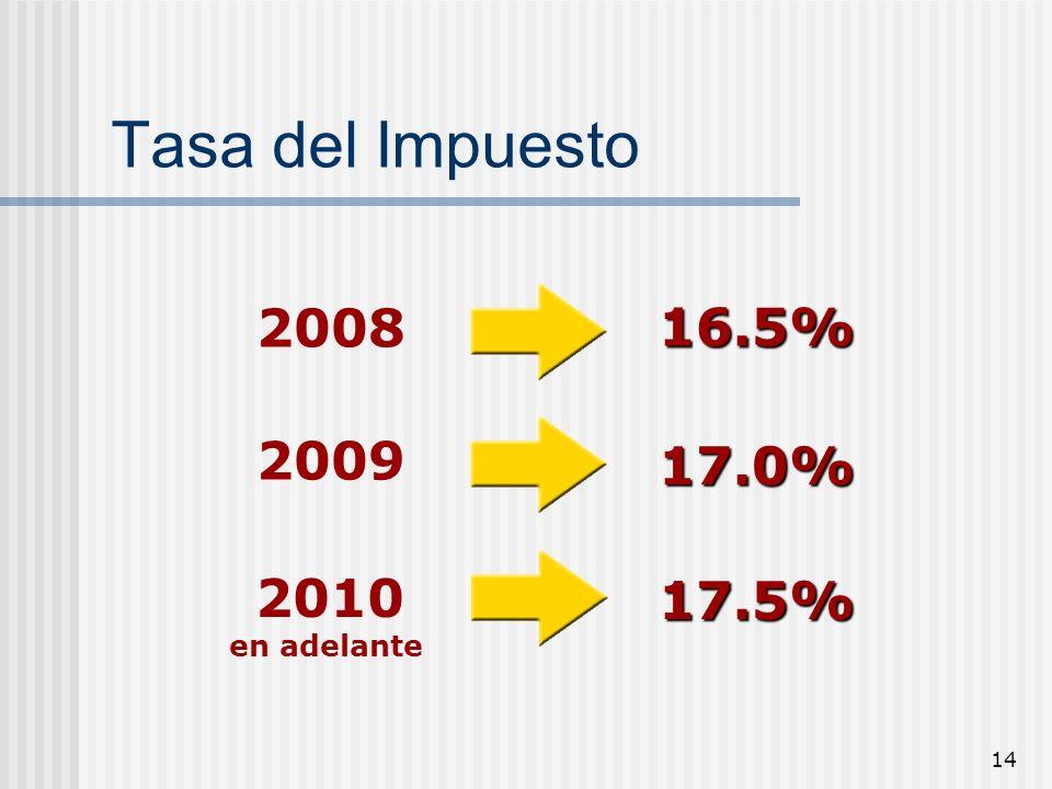 14 Tasa del Impuesto 2009 2010 en adelante 17.0% 17.5% 2008 16.5%