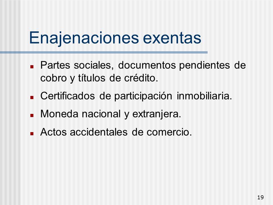 19 Enajenaciones exentas Partes sociales, documentos pendientes de cobro y títulos de crédito. Certificados de participación inmobiliaria. Moneda naci
