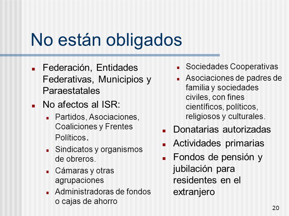 20 No están obligados Federación, Entidades Federativas, Municipios y Paraestatales No afectos al ISR: Partidos, Asociaciones, Coaliciones y Frentes P