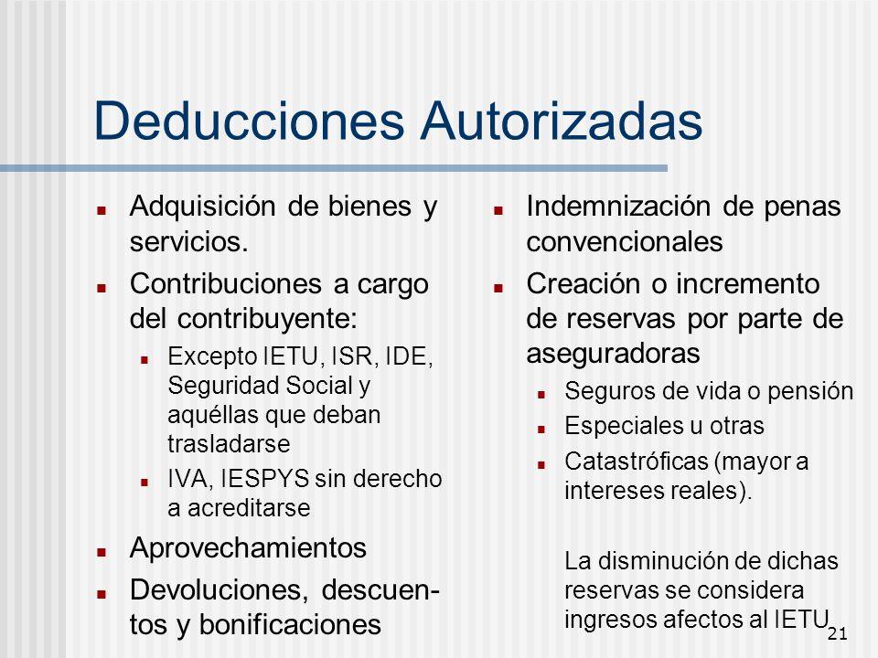 21 Deducciones Autorizadas Adquisición de bienes y servicios. Contribuciones a cargo del contribuyente: Excepto IETU, ISR, IDE, Seguridad Social y aqu