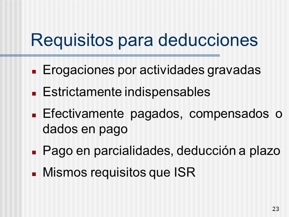 23 Requisitos para deducciones Erogaciones por actividades gravadas Estrictamente indispensables Efectivamente pagados, compensados o dados en pago Pa