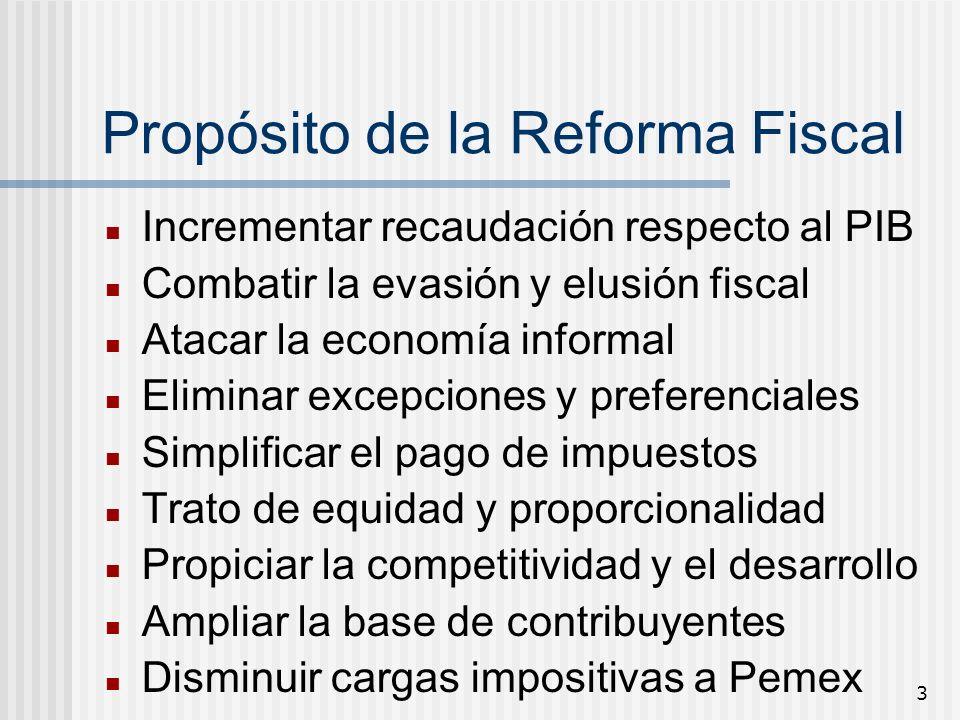 3 Propósito de la Reforma Fiscal Incrementar recaudación respecto al PIB Combatir la evasión y elusión fiscal Atacar la economía informal Eliminar exc