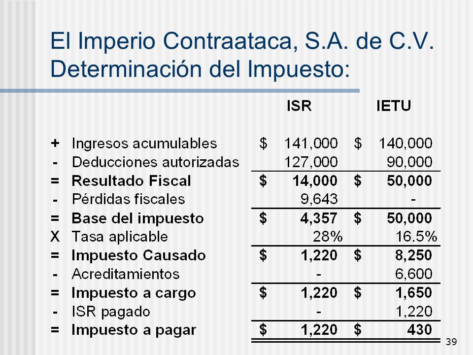 39 El Imperio Contraataca, S.A. de C.V. Determinación del Impuesto: