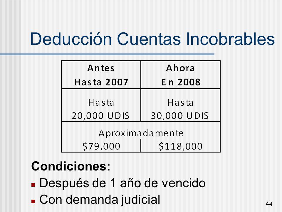 44 Deducción Cuentas Incobrables Condiciones: Después de 1 año de vencido Con demanda judicial