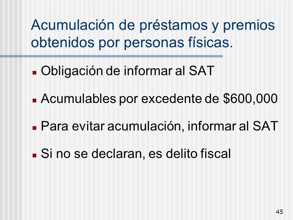 45 Acumulación de préstamos y premios obtenidos por personas físicas. Obligación de informar al SAT Acumulables por excedente de $600,000 Para evitar
