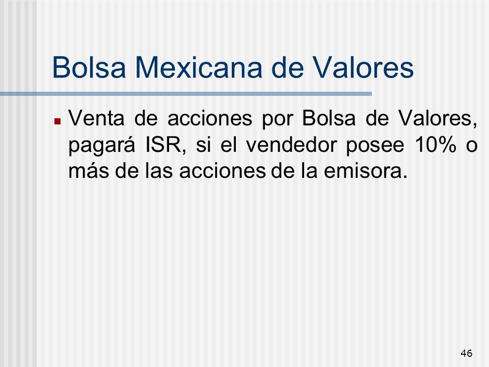46 Bolsa Mexicana de Valores Venta de acciones por Bolsa de Valores, pagará ISR, si el vendedor posee 10% o más de las acciones de la emisora.