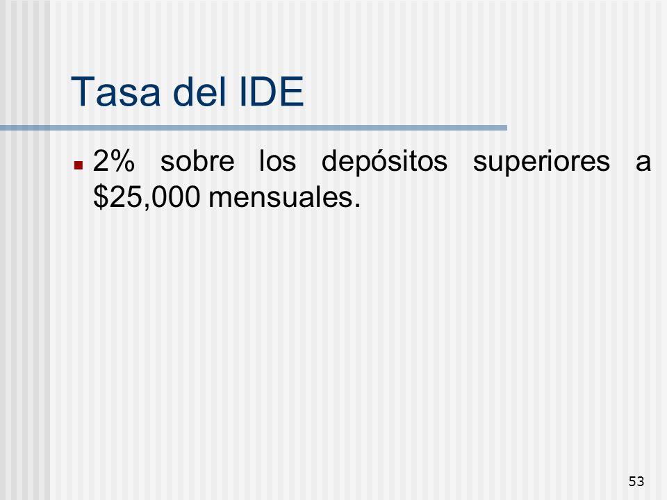 53 Tasa del IDE 2% sobre los depósitos superiores a $25,000 mensuales.