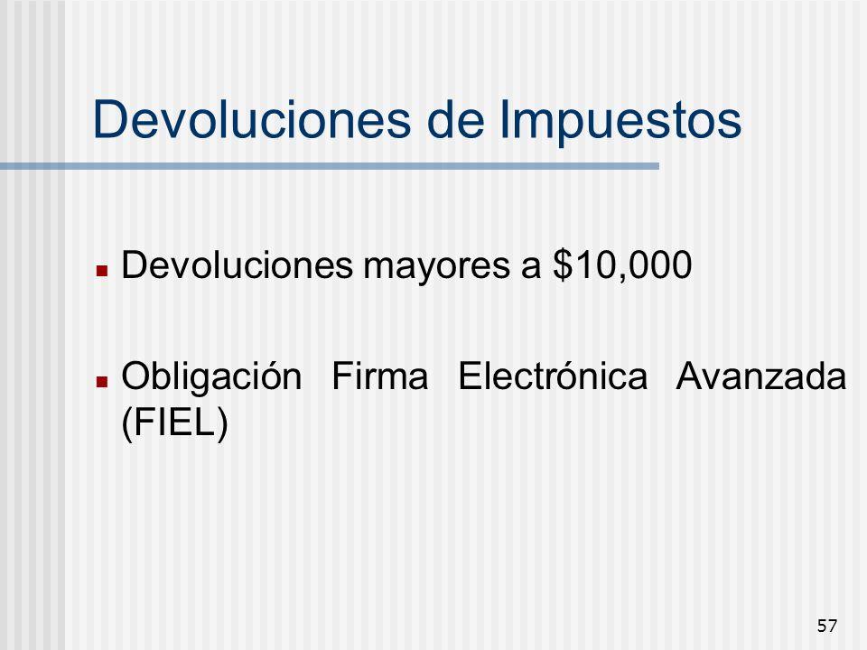 57 Devoluciones de Impuestos Devoluciones mayores a $10,000 Obligación Firma Electrónica Avanzada (FIEL)