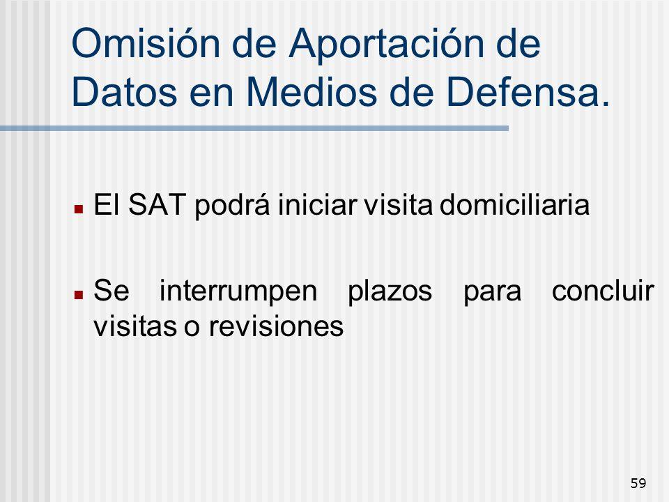59 Omisión de Aportación de Datos en Medios de Defensa. El SAT podrá iniciar visita domiciliaria Se interrumpen plazos para concluir visitas o revisio