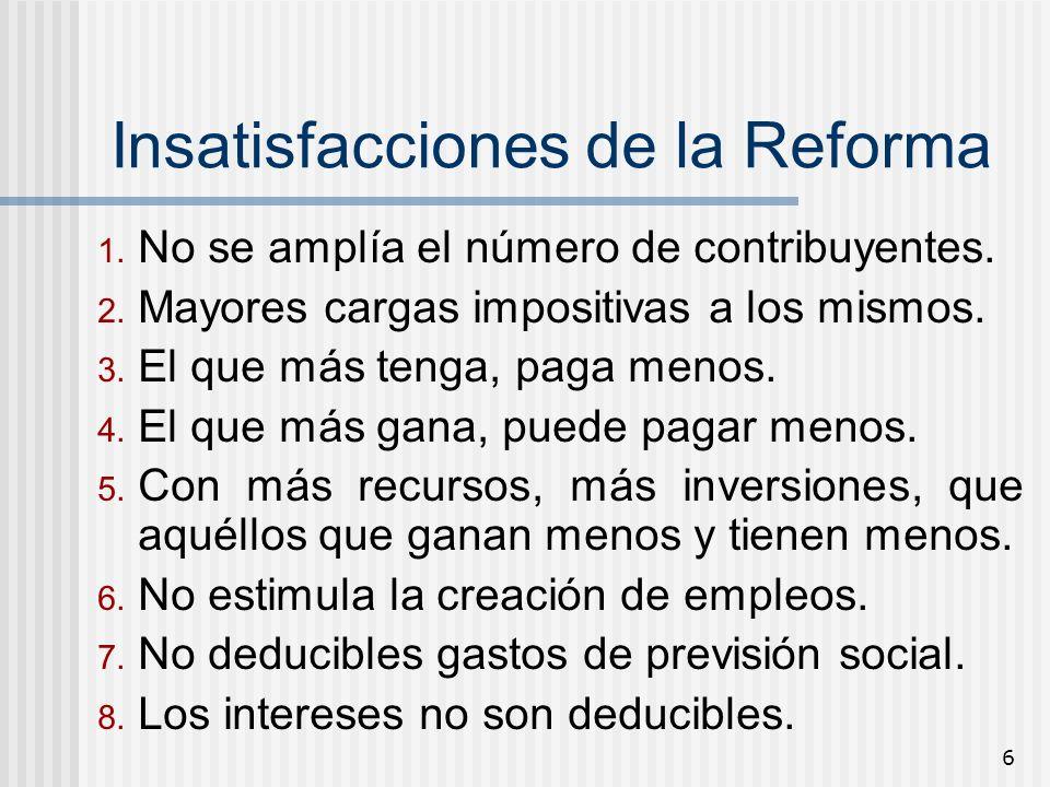 6 Insatisfacciones de la Reforma 1. No se amplía el número de contribuyentes. 2. Mayores cargas impositivas a los mismos. 3. El que más tenga, paga me