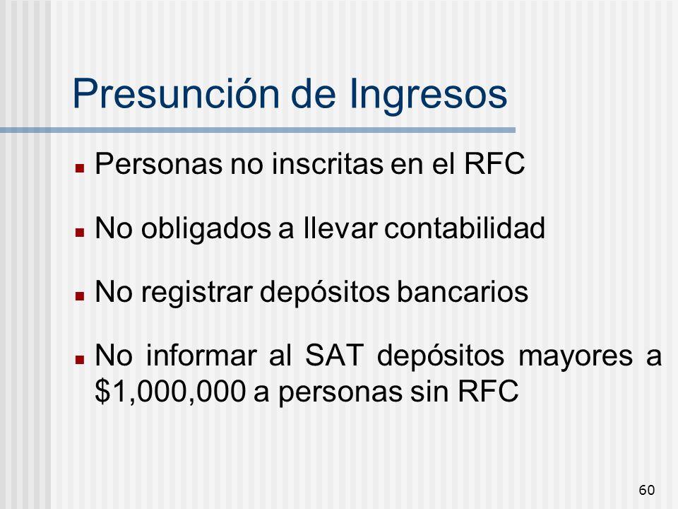 60 Presunción de Ingresos Personas no inscritas en el RFC No obligados a llevar contabilidad No registrar depósitos bancarios No informar al SAT depós