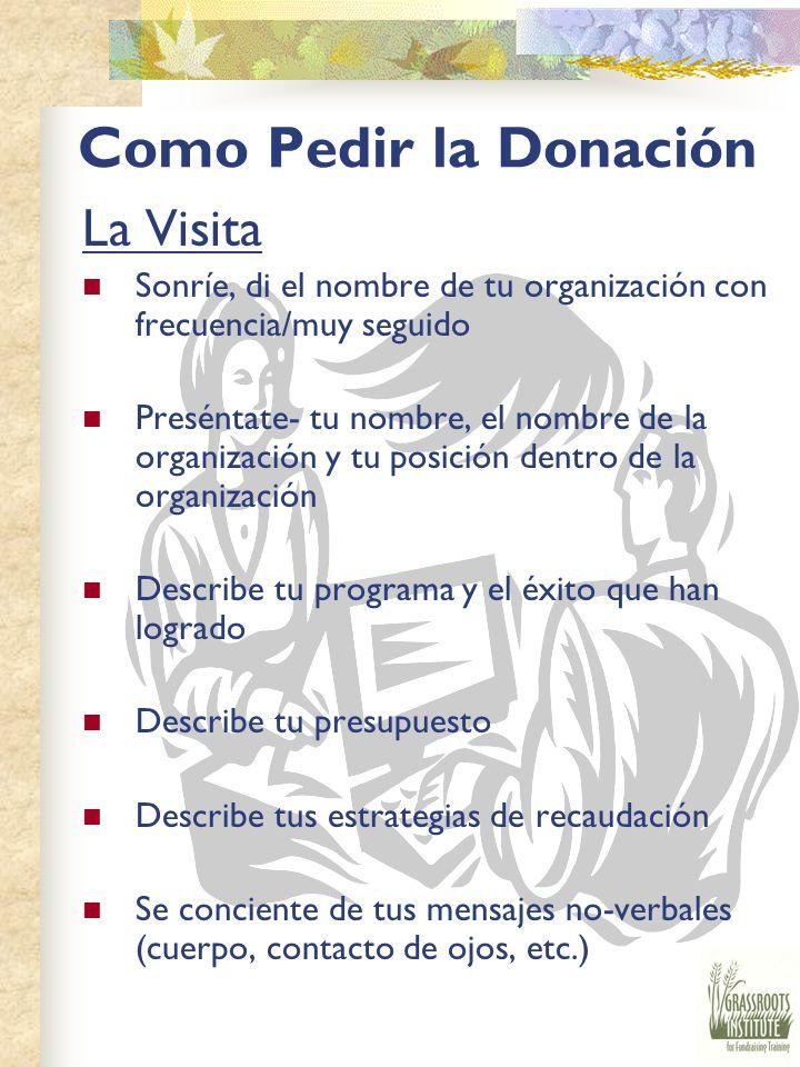 Pedir La Donación Actitud No escuche no hasta que digan no Persistencia Pasión Habilidad De Donar Fondos ¿Quién es un donor probable? ¿Cómo se le pide