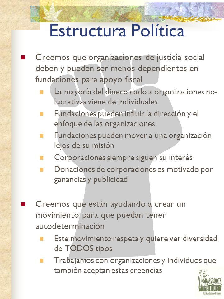 Estructura Política Ponemos al frente la estructura política para darles a organizaciones y individuos un entendimiento de la visión y las metas del I