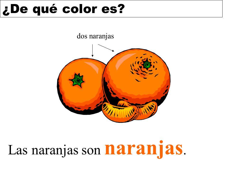 ¿De qué color es? Las naranjas son naranjas. dos naranjas