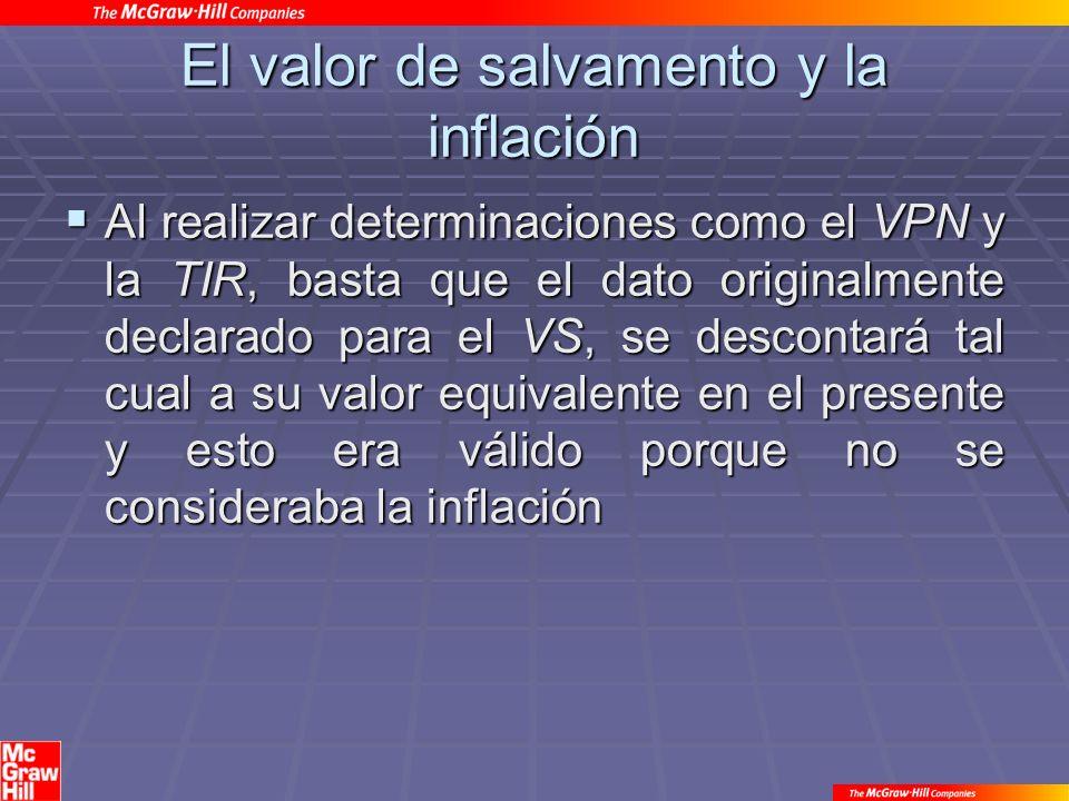 El valor de salvamento y la inflación Al realizar determinaciones como el VPN y la TIR, basta que el dato originalmente declarado para el VS, se descontará tal cual a su valor equivalente en el presente y esto era válido porque no se consideraba la inflación Al realizar determinaciones como el VPN y la TIR, basta que el dato originalmente declarado para el VS, se descontará tal cual a su valor equivalente en el presente y esto era válido porque no se consideraba la inflación