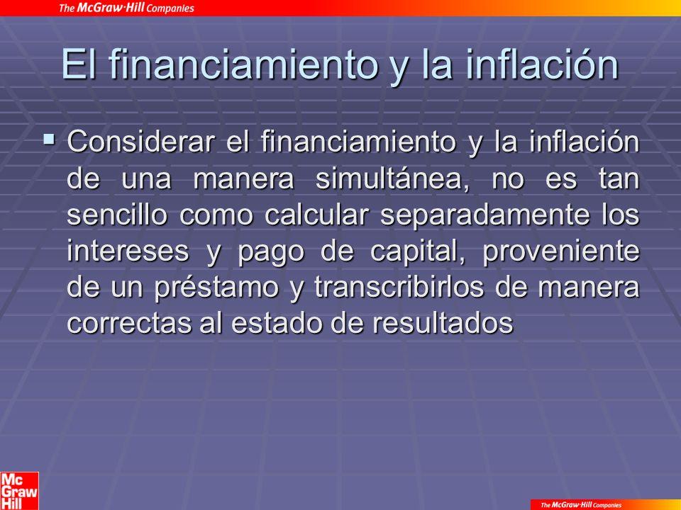El financiamiento y la inflación Considerar el financiamiento y la inflación de una manera simultánea, no es tan sencillo como calcular separadamente los intereses y pago de capital, proveniente de un préstamo y transcribirlos de manera correctas al estado de resultados Considerar el financiamiento y la inflación de una manera simultánea, no es tan sencillo como calcular separadamente los intereses y pago de capital, proveniente de un préstamo y transcribirlos de manera correctas al estado de resultados