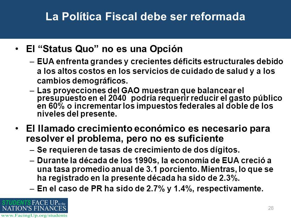 28 La Política Fiscal debe ser reformada El Status Quo no es una Opción –EUA enfrenta grandes y crecientes déficits estructurales debido a los altos c