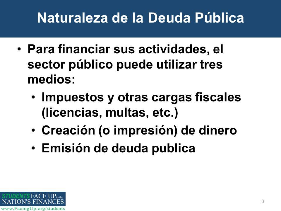 3 Naturaleza de la Deuda Pública Para financiar sus actividades, el sector público puede utilizar tres medios: Impuestos y otras cargas fiscales (lice