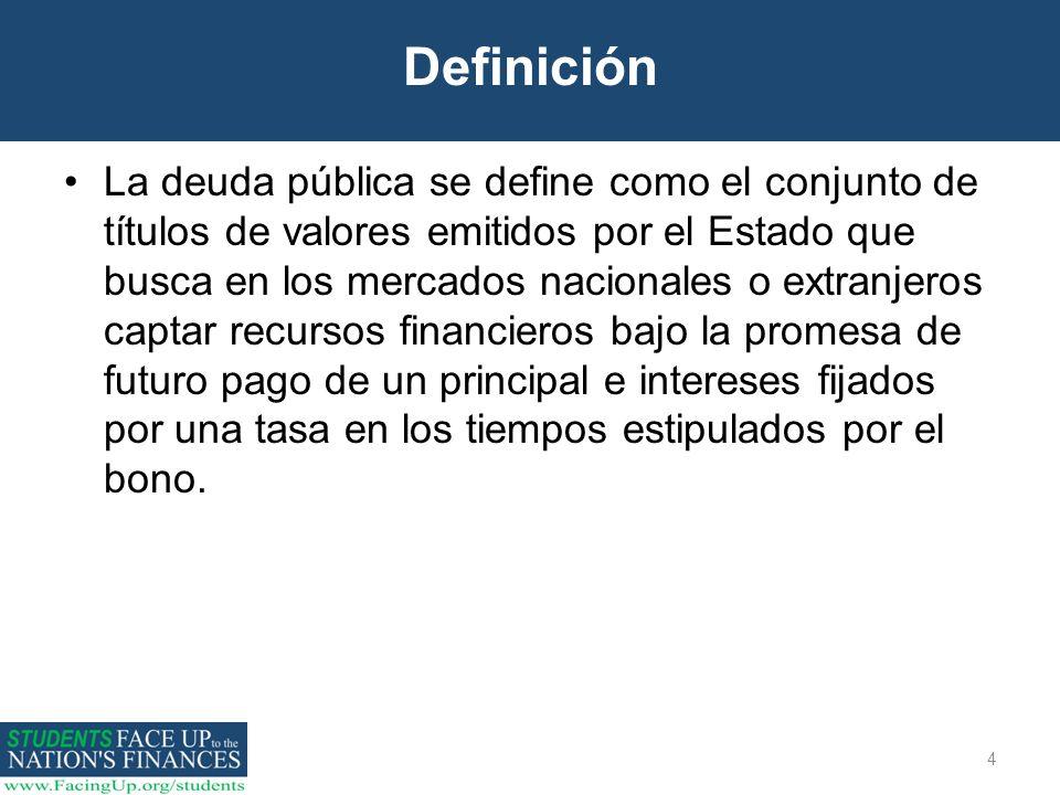 4 Definición La deuda pública se define como el conjunto de títulos de valores emitidos por el Estado que busca en los mercados nacionales o extranjer