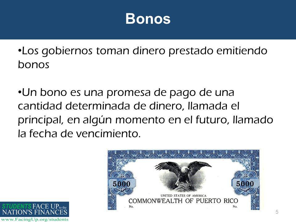 5 Bonos Los gobiernos toman dinero prestado emitiendo bonos Un bono es una promesa de pago de una cantidad determinada de dinero, llamada el principal