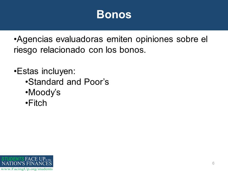 6 Bonos Agencias evaluadoras emiten opiniones sobre el riesgo relacionado con los bonos. Estas incluyen: Standard and Poors Moodys Fitch