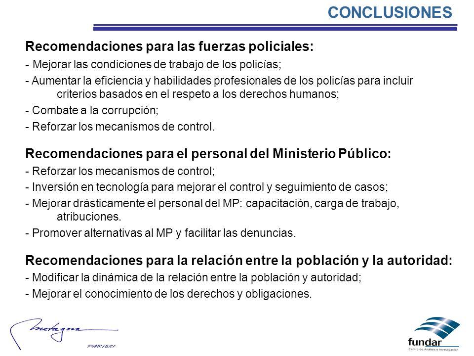 CONCLUSIONES Recomendaciones para las fuerzas policiales: - Mejorar las condiciones de trabajo de los policías; - Aumentar la eficiencia y habilidades