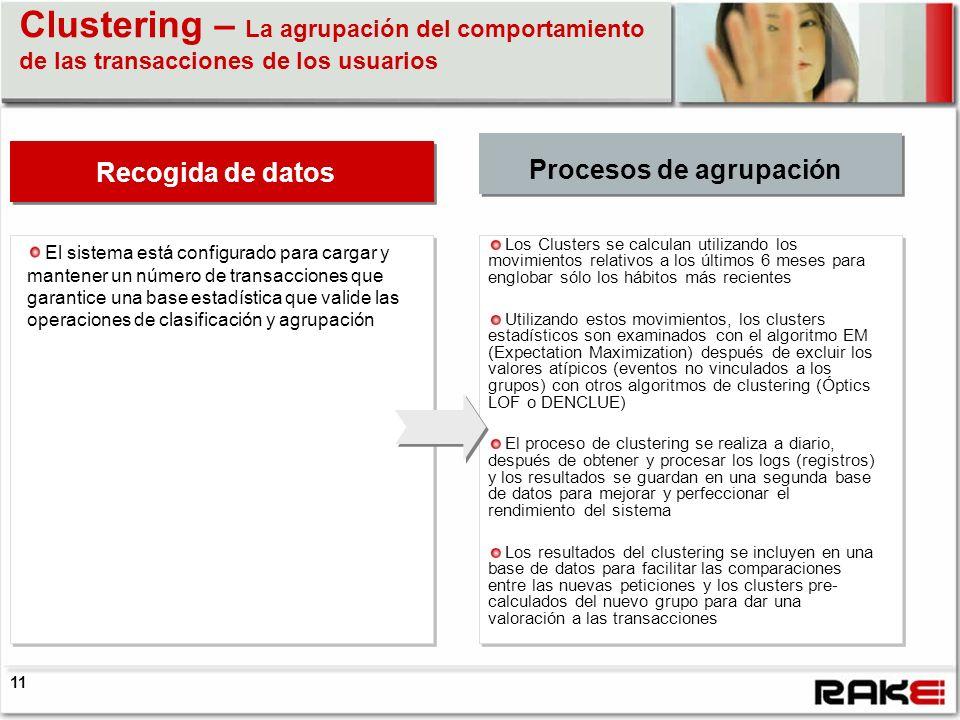 Clustering – La agrupación del comportamiento de las transacciones de los usuarios Fase di raccolta dati El sistema está configurado para cargar y man