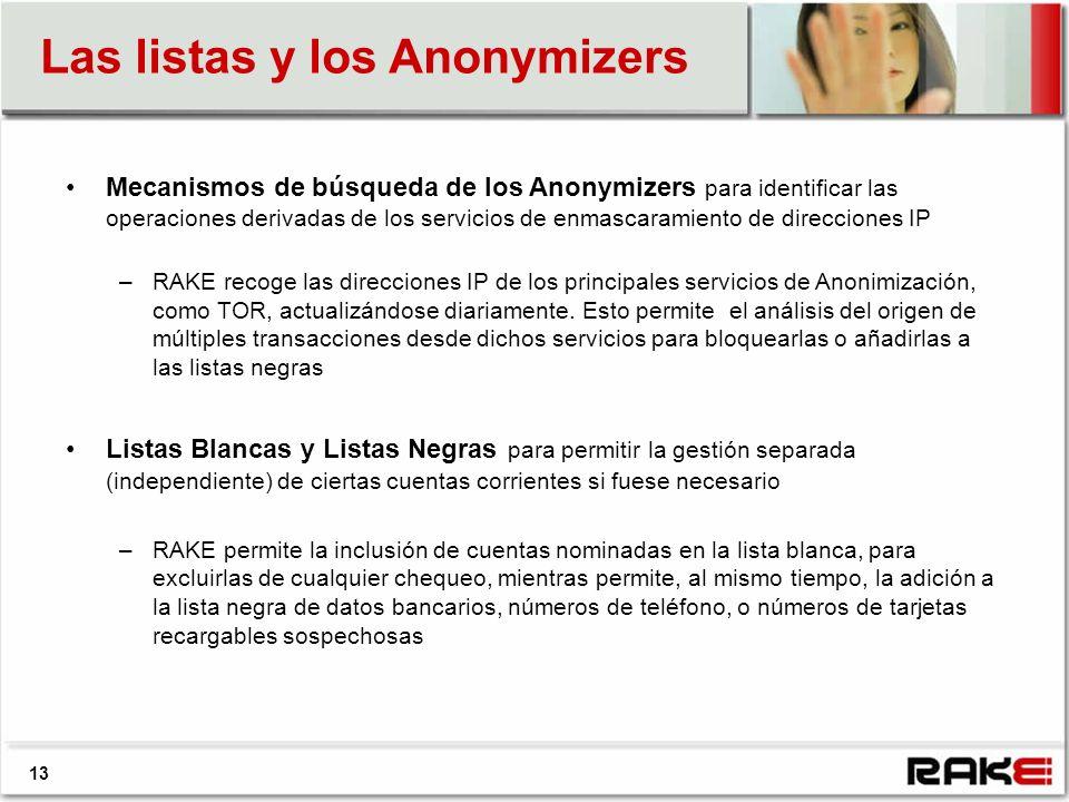 13 Las listas y los Anonymizers Mecanismos de búsqueda de los Anonymizers para identificar las operaciones derivadas de los servicios de enmascaramiento de direcciones IP –RAKE recoge las direcciones IP de los principales servicios de Anonimización, como TOR, actualizándose diariamente.