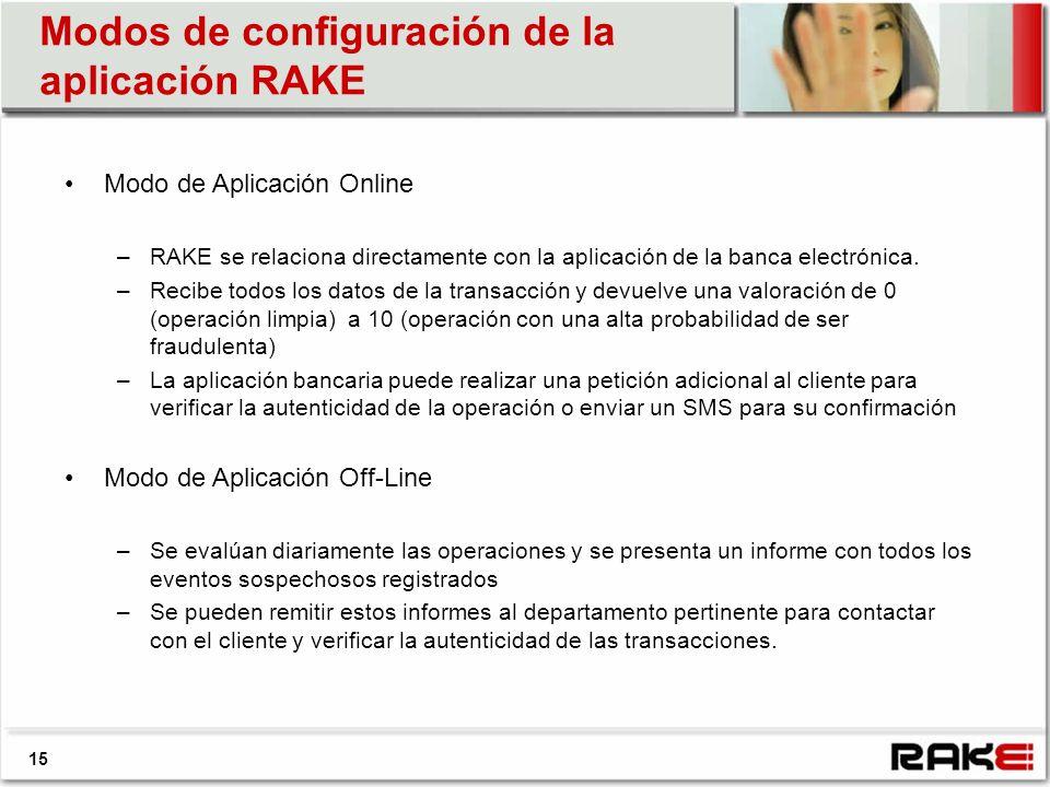 Modos de configuración de la aplicación RAKE 15 Modo de Aplicación Online –RAKE se relaciona directamente con la aplicación de la banca electrónica. –