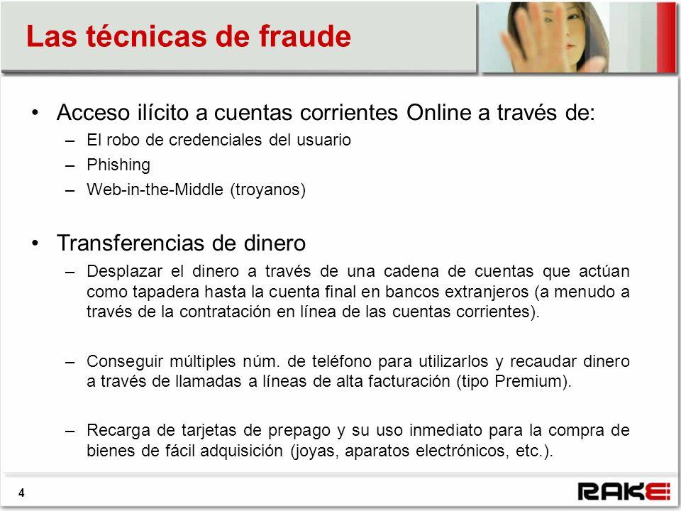 Las técnicas de fraude 4 Acceso ilícito a cuentas corrientes Online a través de: –El robo de credenciales del usuario –Phishing –Web-in-the-Middle (tr