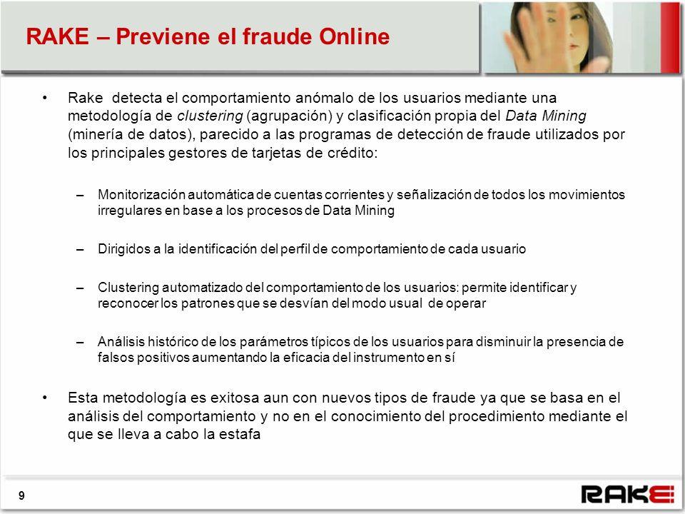 RAKE – Previene el fraude Online 9 Rake detecta el comportamiento anómalo de los usuarios mediante una metodología de clustering (agrupación) y clasif