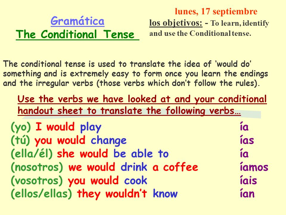 Gramática The Conditional Tense The conditional tense is used to translate the idea of would do something and is extremely easy to form once you learn the endings and the irregular verbs (those verbs which dont follow the rules).