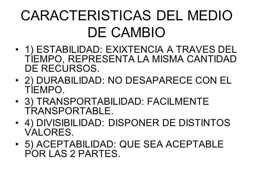CARACTERISTICAS DEL MEDIO DE CAMBIO 1) ESTABILIDAD: EXIXTENCIA A TRAVES DEL TIEMPO, REPRESENTA LA MISMA CANTIDAD DE RECURSOS. 2) DURABILIDAD: NO DESAP