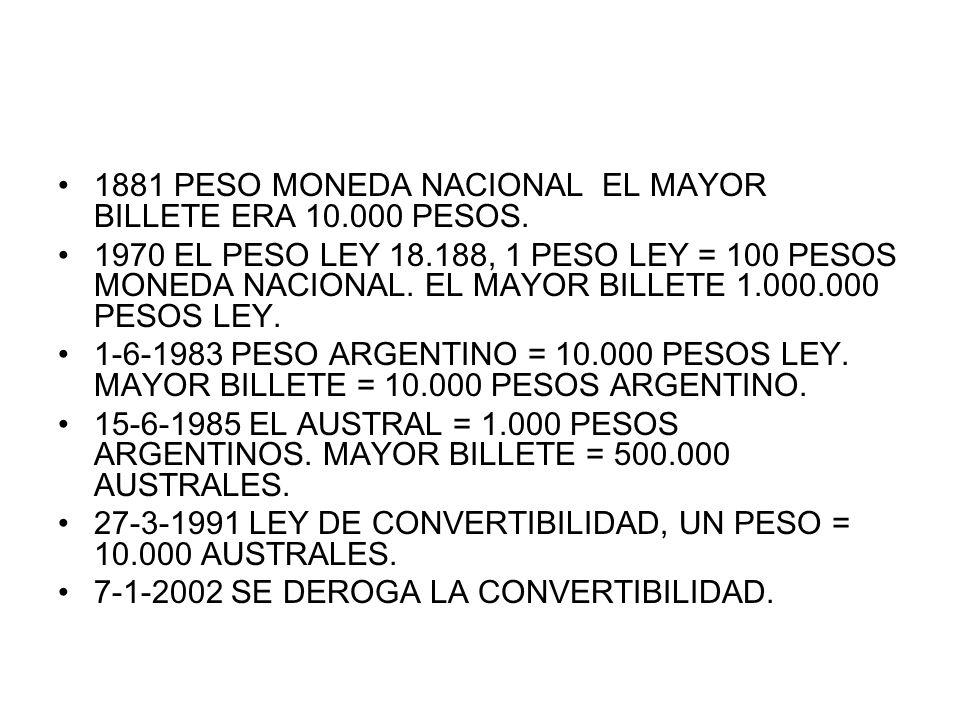 1881 PESO MONEDA NACIONAL EL MAYOR BILLETE ERA 10.000 PESOS. 1970 EL PESO LEY 18.188, 1 PESO LEY = 100 PESOS MONEDA NACIONAL. EL MAYOR BILLETE 1.000.0