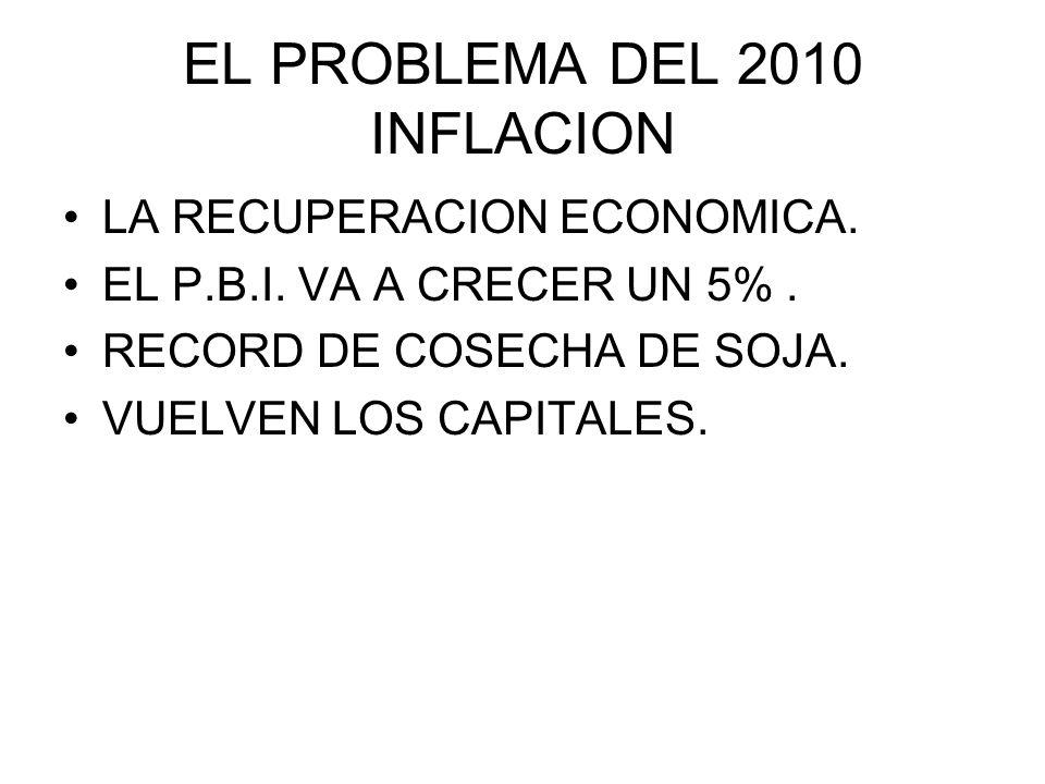 EL PROBLEMA DEL 2010 INFLACION LA RECUPERACION ECONOMICA. EL P.B.I. VA A CRECER UN 5%. RECORD DE COSECHA DE SOJA. VUELVEN LOS CAPITALES.