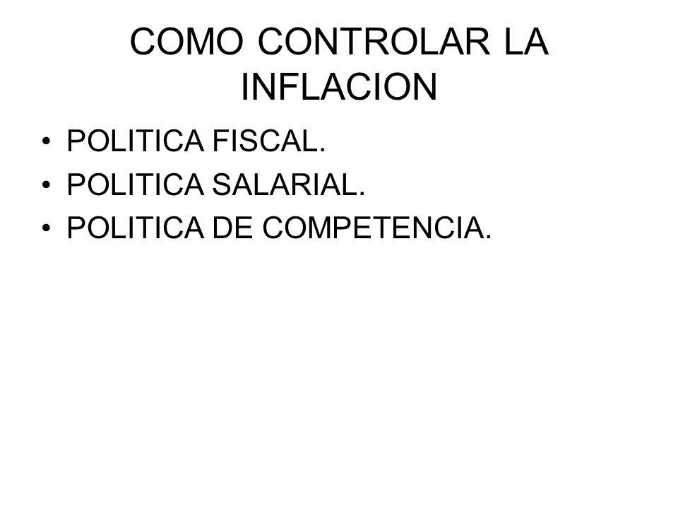 COMO CONTROLAR LA INFLACION POLITICA FISCAL. POLITICA SALARIAL. POLITICA DE COMPETENCIA.