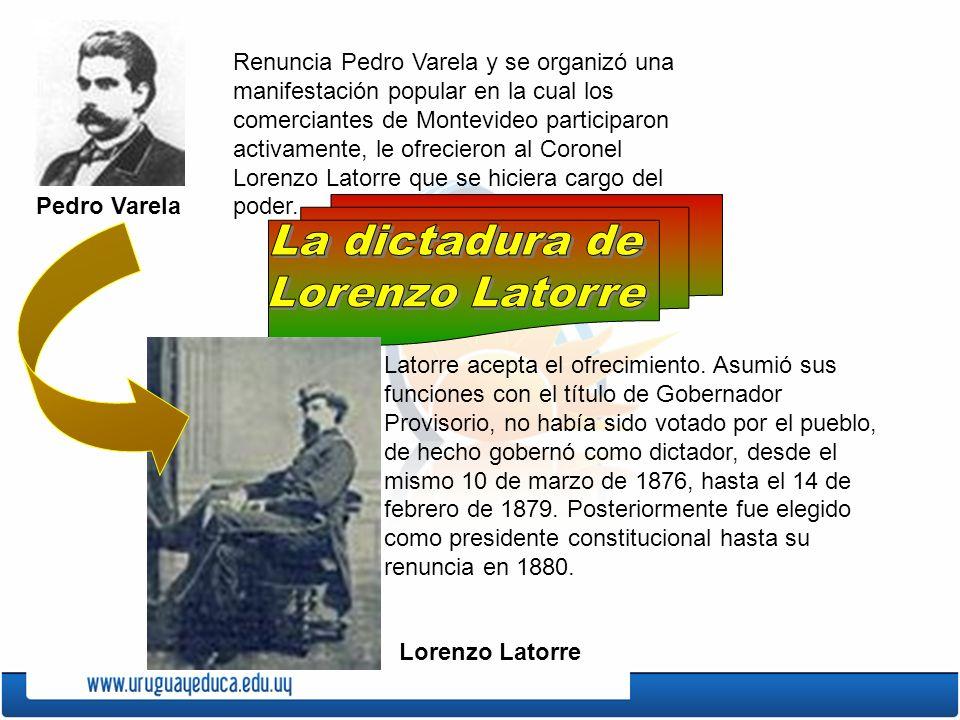 Gobierno de Lorenzo Latorre Pertenecía al gobierno colorado, pero en su gobierno no hizo política de partido, se rodeó de colaboradores pero sin tener en cuenta a qué partido pertenecían.